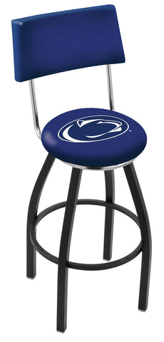 "PSU Nittany Lions 30"" L8B4 - Black Wrinkle Penn State Swivel Bar Stool with a Back by Holland Bar Stool Company"