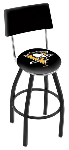 "30"" L8B4 - Black Wrinkle Pittsburgh Penguins Swivel Bar Stool with a Back by Holland Bar Stool Company"