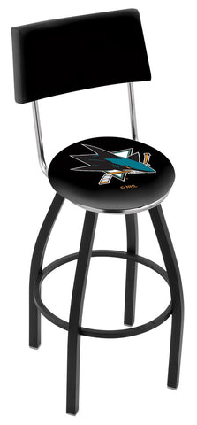 "30"" L8B4 - Black Wrinkle San Jose Sharks Swivel Bar Stool with a Back by Holland Bar Stool Company"