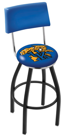"UK Wildcats 30"" L8B4 - Black Wrinkle Kentucky ""Wildcat"" Swivel Bar Stool with a Back by Holland Bar Stool Company"