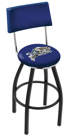 "Navy Midshipmen 30"" L8B4 - Black Wrinkle US Naval Academy (NAVY) Swivel Bar Stool with a Back by Holland Bar Stool Company"