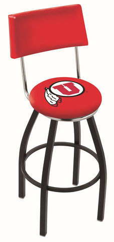 "Utah Utes 30"" L8B4 - Black Wrinkle Utah Swivel Bar Stool with a Back by Holland Bar Stool Company"