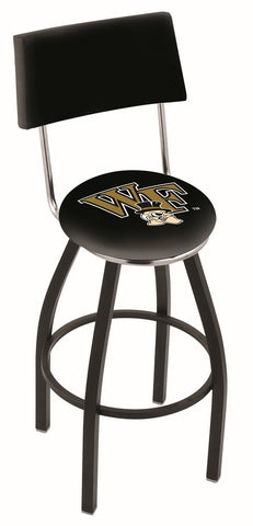"Wake Forest Demon Deacons 30"" L8B4 - Black Wrinkle Wake Forest Swivel Bar Stool with a Back by Holland Bar Stool Company"