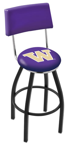 "UW Huskies 30"" L8B4 - Black Wrinkle Washington Swivel Bar Stool with a Back by Holland Bar Stool Company"
