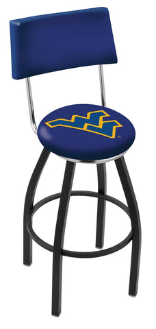 "WVU Mountaineers 30"" L8B4 - Black Wrinkle West Virginia Swivel Bar Stool with a Back by Holland Bar Stool Company"