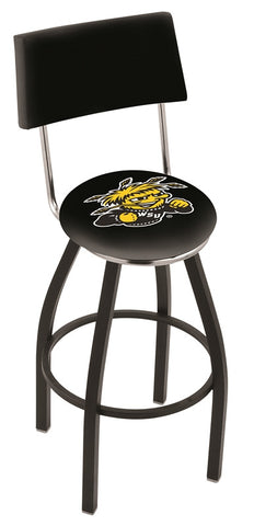 "Wichita State  Shockers 30"" L8B4 - Black Wrinkle Wichita State Swivel Bar Stool with a Back by Holland Bar Stool Company"