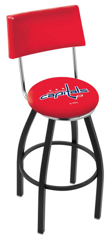 "30"" L8B4 - Black Wrinkle Washington Capitals Swivel Bar Stool with a Back by Holland Bar Stool Company"