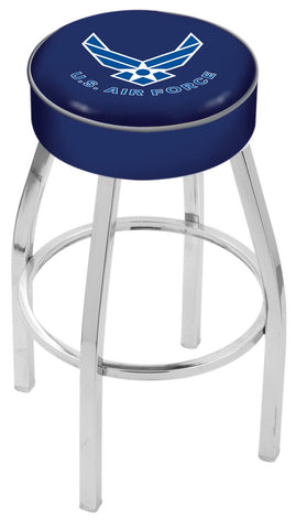 "30"" L8C1 - 4"" U.S. Air Force Cushion Seat with Chrome Base Swivel Bar Stool by Holland Bar Stool Company"