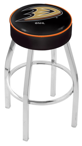 "30"" L8C1 - 4"" Anaheim Ducks Cushion Seat with Chrome Base Swivel Bar Stool by Holland Bar Stool Company"