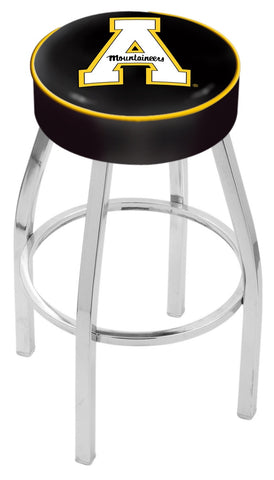 "ASU Mountaineers 30"" L8C1 - 4"" Appalachian State Cushion Seat with Chrome Base Swivel Bar Stool by Holland Bar Stool Company"
