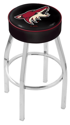 "30"" L8C1 - 4"" Arizona Coyotes Cushion Seat with Chrome Base Swivel Bar Stool by Holland Bar Stool Company"