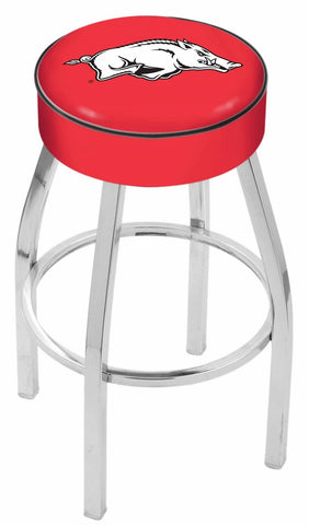 "Arkansas Razorbacks 30"" L8C1 - 4"" Arkansas Cushion Seat with Chrome Base Swivel Bar Stool by Holland Bar Stool Company"