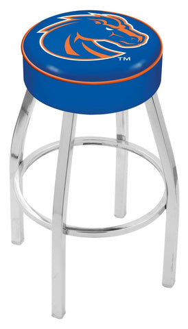 "BSU Broncos 30"" L8C1 - 4"" Boise State Cushion Seat with Chrome Base Swivel Bar Stool by Holland Bar Stool Company"