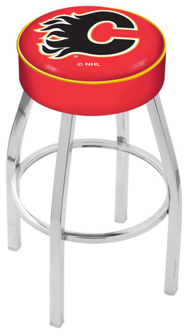 "30"" L8C1 - 4"" Calgary Flames Cushion Seat with Chrome Base Swivel Bar Stool by Holland Bar Stool Company"