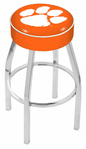 "Clemson  Tigers 30"" L8C1 - 4"" Clemson Cushion Seat with Chrome Base Swivel Bar Stool by Holland Bar Stool Company"
