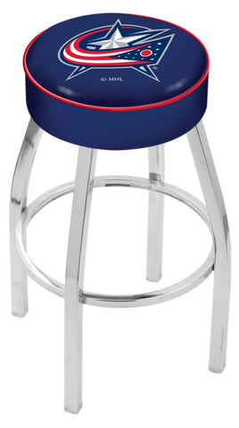"30"" L8C1 - 4"" Columbus Blue Jackets Cushion Seat with Chrome Base Swivel Bar Stool by Holland Bar Stool Company"