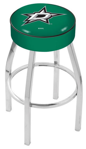 "30"" L8C1 - 4"" Dallas Stars Cushion Seat with Chrome Base Swivel Bar Stool by Holland Bar Stool Company"