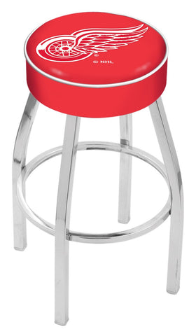 "30"" L8C1 - 4"" Detroit Red Wings Cushion Seat with Chrome Base Swivel Bar Stool by Holland Bar Stool Company"