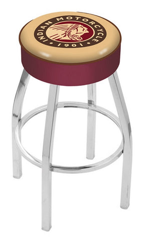 "30"" L8C1 - 4"" Indian Motorcycle Cushion Seat with Chrome Base Swivel Bar Stool by Holland Bar Stool Company"