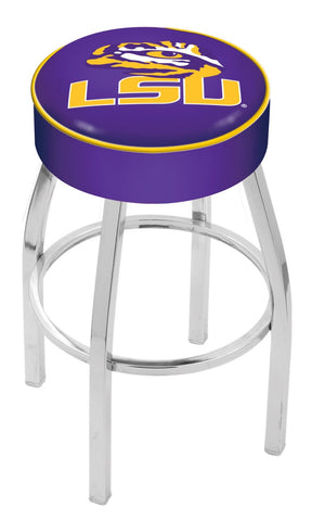 "LSU Tigers 30"" L8C1 - 4"" Louisiana State Cushion Seat with Chrome Base Swivel Bar Stool by Holland Bar Stool Company"