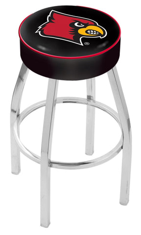 "UofL Cardinals 30"" L8C1 - 4"" Louisville Cushion Seat with Chrome Base Swivel Bar Stool by Holland Bar Stool Company"