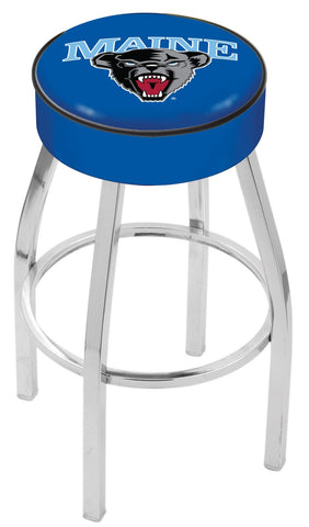 "Maine Black Bears 30"" L8C1 - 4"" Maine Cushion Seat with Chrome Base Swivel Bar Stool by Holland Bar Stool Company"
