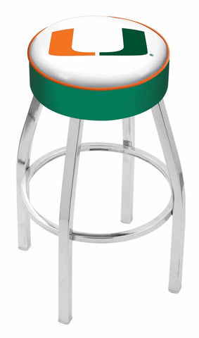 "Miami Hurricanes 30"" L8C1 - 4"" Miami (FL) Cushion Seat with Chrome Base Swivel Bar Stool by Holland Bar Stool Company"