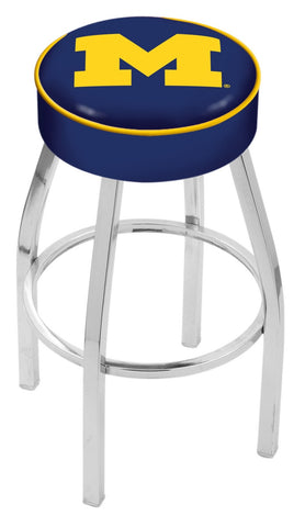"Michigan Wolverines 30"" L8C1 - 4"" Michigan Cushion Seat with Chrome Base Swivel Bar Stool by Holland Bar Stool Company"