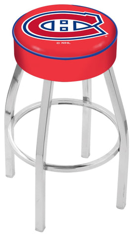 "30"" L8C1 - 4"" Montreal Canadiens Cushion Seat with Chrome Base Swivel Bar Stool by Holland Bar Stool Company"
