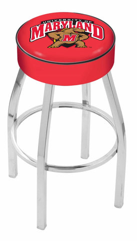"UM Terrapins 30"" L8C1 - 4"" Maryland Cushion Seat with Chrome Base Swivel Bar Stool by Holland Bar Stool Company"