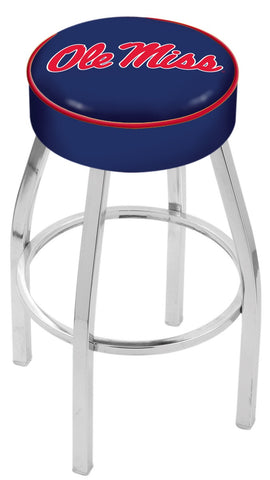 "Ole Miss Rebels 30"" L8C1 - 4"" Ole' Miss Cushion Seat with Chrome Base Swivel Bar Stool by Holland Bar Stool Company"