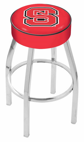 "NC State Wolfpack 30"" L8C1 - 4"" North Carolina State Cushion Seat with Chrome Base Swivel Bar Stool by Holland Bar Stool Company"