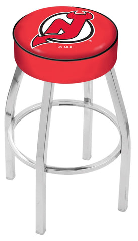 "30"" L8C1 - 4"" New Jersey Devils Cushion Seat with Chrome Base Swivel Bar Stool by Holland Bar Stool Company"