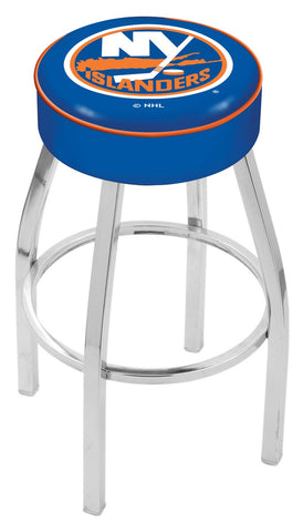 "30"" L8C1 - 4"" New York Islanders Cushion Seat with Chrome Base Swivel Bar Stool by Holland Bar Stool Company"