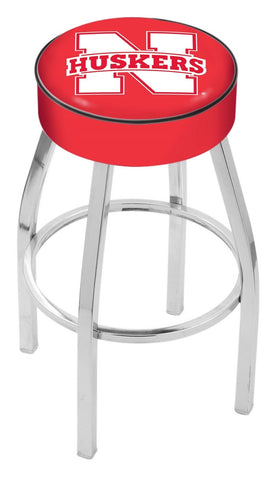 "Nebraska Cornhuskers 30"" L8C1 - 4"" Nebraska Cushion Seat with Chrome Base Swivel Bar Stool by Holland Bar Stool Company"