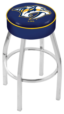 "30"" L8C1 - 4"" Nashville Predators Cushion Seat with Chrome Base Swivel Bar Stool by Holland Bar Stool Company"