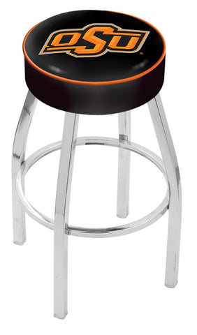 "OSU Cowboys 30"" L8C1 - 4"" Oklahoma State Cushion Seat with Chrome Base Swivel Bar Stool by Holland Bar Stool Company"