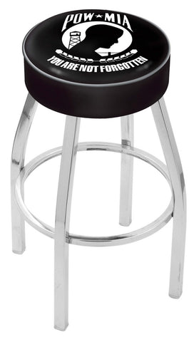 "30"" L8C1 - 4"" POW/MIA Cushion Seat with Chrome Base Swivel Bar Stool by Holland Bar Stool Company"