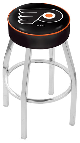 "30"" L8C1 - 4"" Philadelphia Flyers Cushion Seat with Chrome Base Swivel Bar Stool by Holland Bar Stool Company"