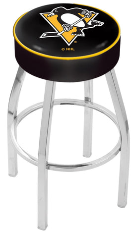 "30"" L8C1 - 4"" Pittsburgh Penguins Cushion Seat with Chrome Base Swivel Bar Stool by Holland Bar Stool Company"