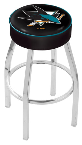 "30"" L8C1 - 4"" San Jose Sharks Cushion Seat with Chrome Base Swivel Bar Stool by Holland Bar Stool Company"