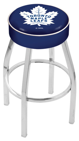 "30"" L8C1 - 4"" Toronto Maple Leafs Cushion Seat with Chrome Base Swivel Bar Stool by Holland Bar Stool Company"