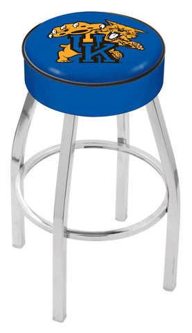"UK Wildcats 30"" L8C1 - 4"" Kentucky ""Wildcat"" Cushion Seat with Chrome Base Swivel Bar Stool by Holland Bar Stool Company"