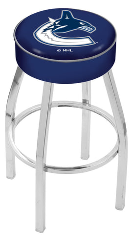 "30"" L8C1 - 4"" Vancouver Canucks Cushion Seat with Chrome Base Swivel Bar Stool by Holland Bar Stool Company"