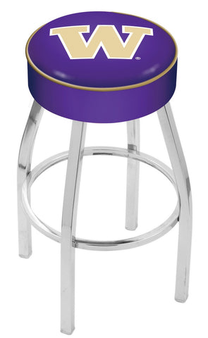"UW Huskies 30"" L8C1 - 4"" Washington Cushion Seat with Chrome Base Swivel Bar Stool by Holland Bar Stool Company"