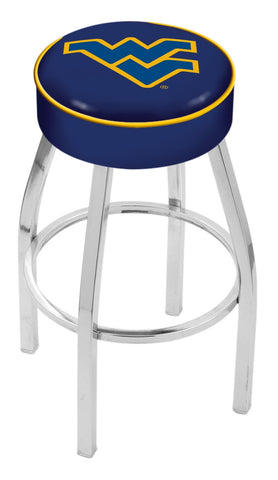 "WVU Mountaineers 30"" L8C1 - 4"" West Virginia Cushion Seat with Chrome Base Swivel Bar Stool by Holland Bar Stool Company"