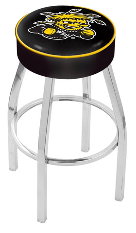 "Wichita State  Shockers 30"" L8C1 - 4"" Wichita State Cushion Seat with Chrome Base Swivel Bar Stool by Holland Bar Stool Company"