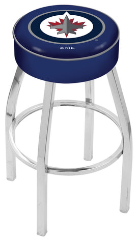 "30"" L8C1 - 4"" Winnipeg Jets Cushion Seat with Chrome Base Swivel Bar Stool by Holland Bar Stool Company"
