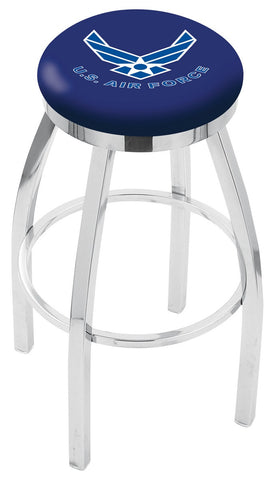"30"" L8C2C - Chrome U.S. Air Force Swivel Bar Stool with Accent Ring by Holland Bar Stool Company"