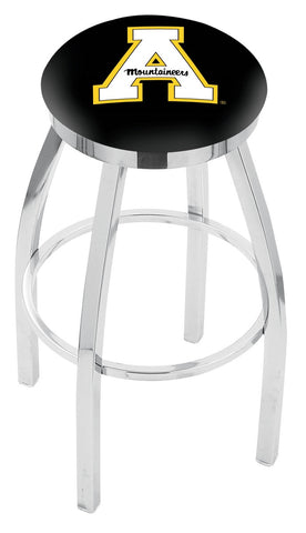 "ASU Mountaineers 30"" L8C2C - Chrome Appalachian State Swivel Bar Stool with Accent Ring by Holland Bar Stool Company"